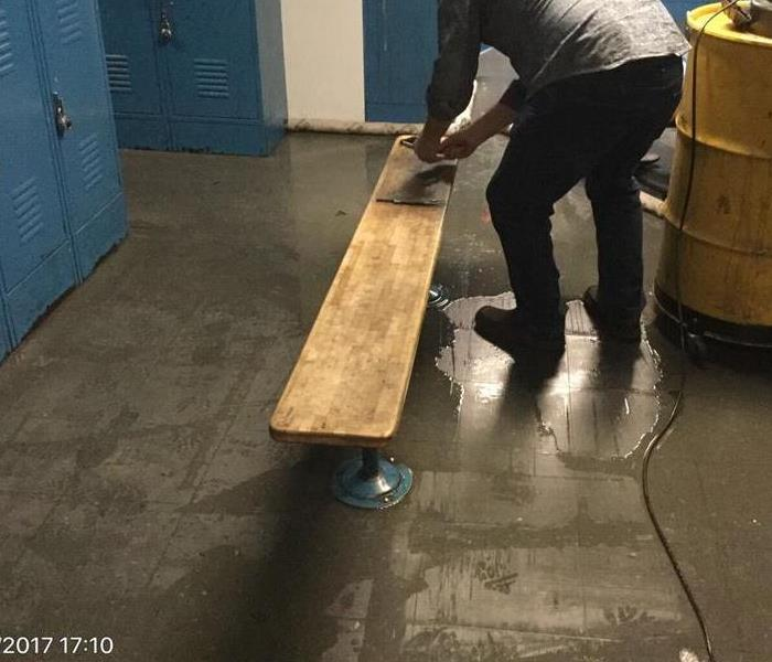Commercial Flooded Locker Room