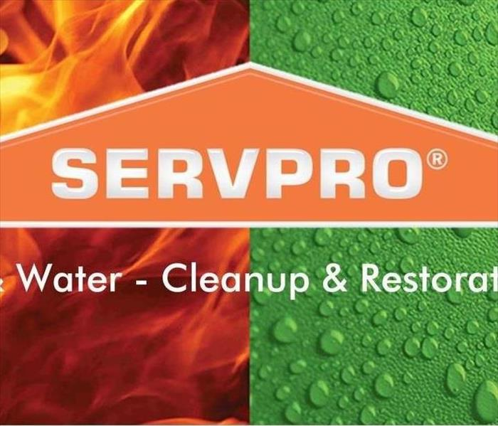 A SERVPRO logo on a red and green background